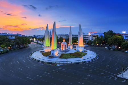 democracy Monument: The Democracy Monument with beautiful sky at twilight (Bangkok, Thailand).