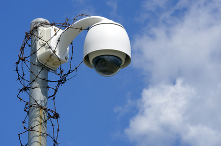 Close up CCTV cameras to detect any abnormalities. In the bright sky