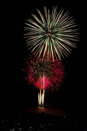 Firework celebration at the beach, Hua Hin, Thailand.