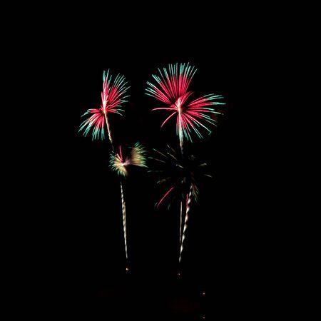 hua: Butterfly firework celebration at the beach, Hua Hin, Thailand. Stock Photo