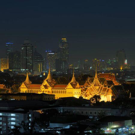 Grand Palace of Thailand at night in Bangkok.