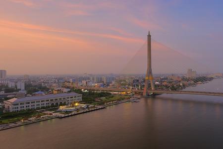Rama VIII Bridge, a bridge over the Chao Phraya River in Bangkok 13. Stock Photo