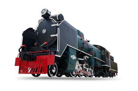 Antique steam engine train isolated on white background, with clipping path.