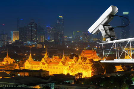 CCTV Motion Detection The background is the palace in Bangkok. Concept prevent harm. Stock Photo