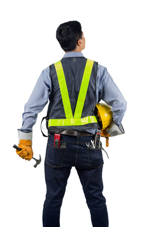 Asian engineer behind with overload tool isolated on white background with clipping path. Archivio Fotografico