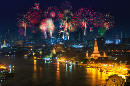 Fireworks celebrate Wat Arun or Temple of Dawn in Bangkok, Thailand remains a popular tourist visits.