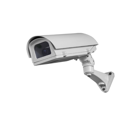 security monitor: Security cameras monitor the movement Isolated on white with clipping path. Stock Photo