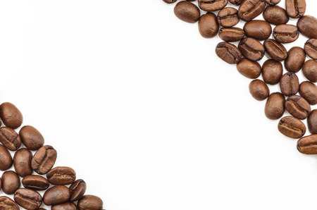 spacing: A lot of fresh roasted coffee beans for background, Spacing for text input. Stock Photo