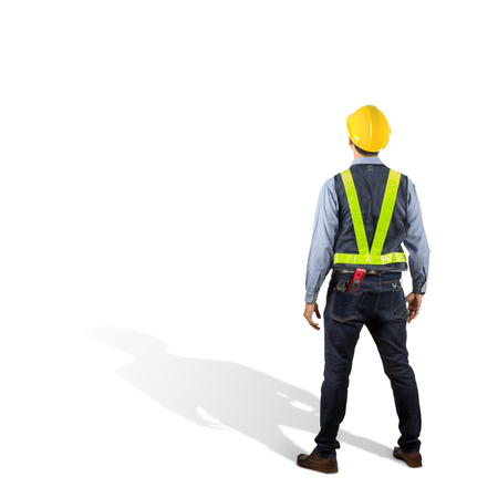 Asian engineer behind with overload tool isolated on white background with clipping path. Stock Photo