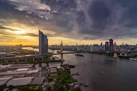 Bangkok, July 11: KASIKORN BANK headquarters skyline at dusk from the top view July 11.2015 in Bangkok near Rama IX bridge. Stock Photo