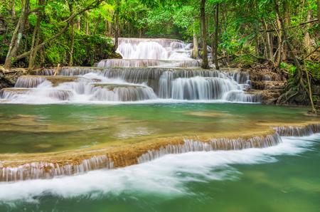 Landscape Huai Mae Kamin waterfall Srinakarin Dam in Kanchanaburi, Thailand.