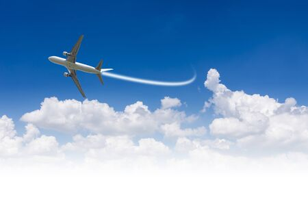 spacing: Commercial airline in the sky Spacing text. Stock Photo