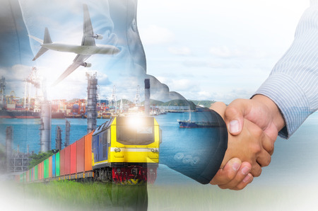 Double exposure of businessman handshake against a backdrop of the Rail freight, containers,Port and commercial aircraft, transport concepts.