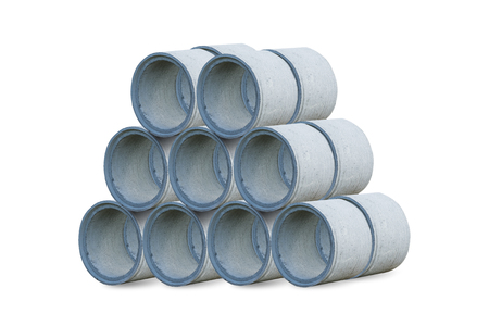 A large cement pipe isolated on white with clipping path. Stock Photo