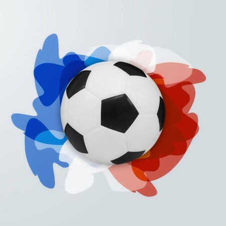 world championships: football championship with ball and france flag colors. Stock Photo