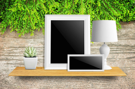 furniture store: Empty picture frame isolated with clipping path, lamps and potted cactus on bookshelf  - For product display.