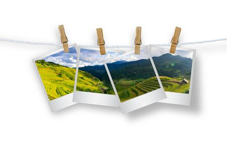 Clothespin hanging with photo frame Mu Cang Chai.
