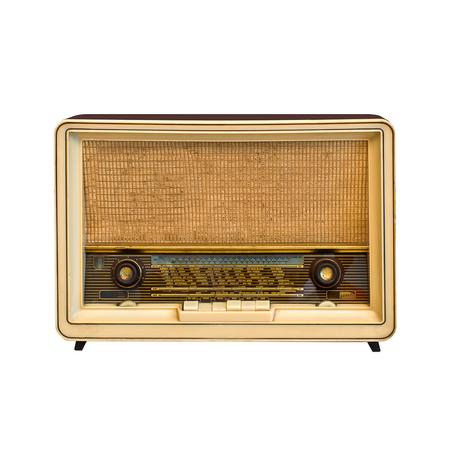 shortwave: Antique radio isolated on white background Stock Photo