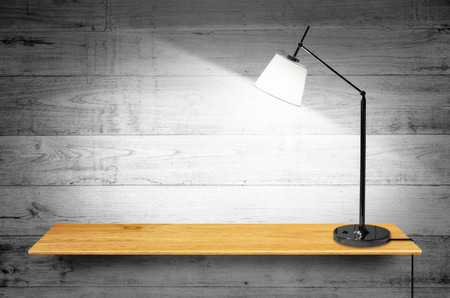 furniture store: Bookshelf on the wall with lamp - For product display. Stock Photo
