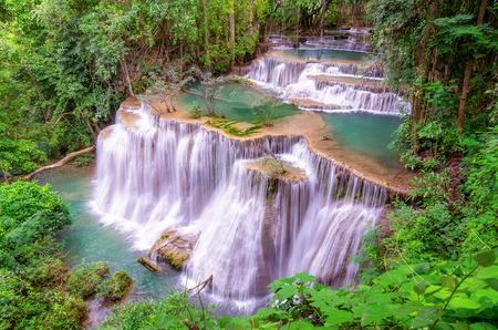 kanchanaburi: Landscape Huai Mae Kamin waterfall Srinakarin Dam in Kanchanaburi, Thailand.