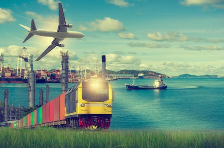 Rail freight, containers, against a backdrop of the Port and commercial aircraft, transport concepts. Vintage Style. Stock Photo