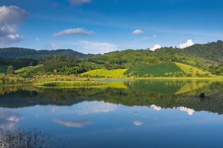 Water and reflex reservoir Nam Ngim District Song Khwae Nan, Thailand. Stock Photo