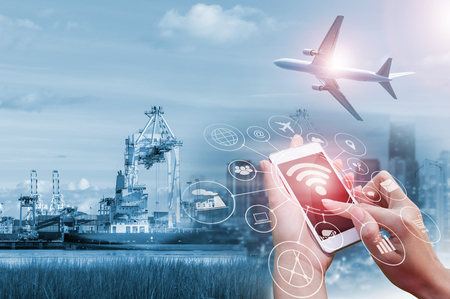 Double exposure of Businessman holding smartphone, Concept communication network digital technology via internet wireless. 스톡 콘텐츠