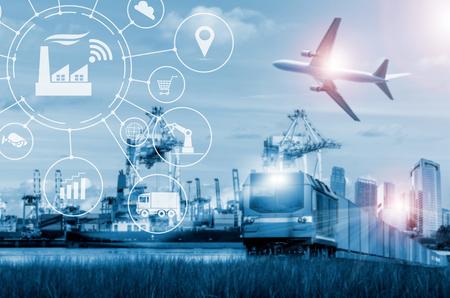 컨테이너 운송, 항구 및화물 수송기, 수송 및 수입 수출 상업 물류 운송업. 스톡 콘텐츠