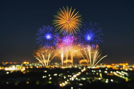 Beautiful firework display for celebration with blur bokeh light