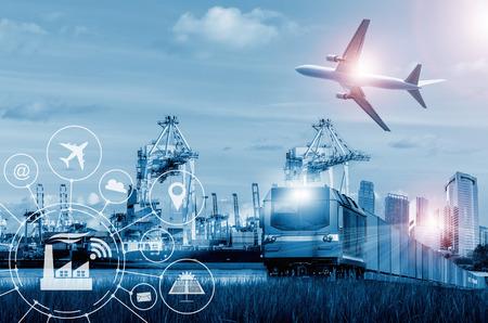 Versandgeschäft Industrie mit Container, Schiff im Hafen und Fracht Frachtflugzeug im Transport und Import-Export kommerziellen Logistik.