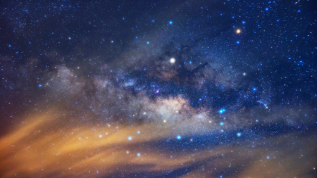 Milky way galaxy with stars and space dust in the universe, long speed exposure. Stock Photo