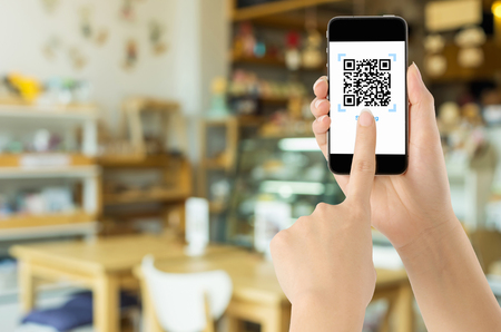 Payment via Realistic QR CODE on white screen, shopping online, pay concept technology using mobile application to scan bar code.