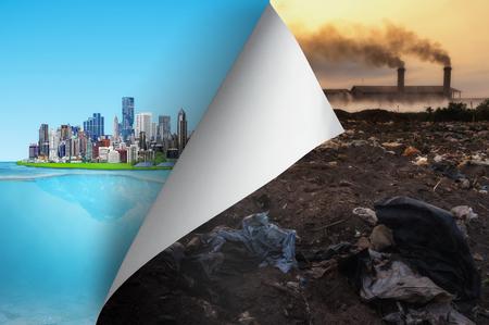 Ändern Sie das Konzept und die Umweltverschmutzungsseite drehen, die zur Stadt aufdeckt, ist zur Umwelt freundlich und ändert Wirklichkeit, Hoffnungsinspiration, Umweltschutz, Änderungswetter, Klimakampagne.