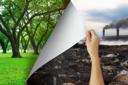 Change concept, Woman hand turning pollution page to Tree garden environmentally friendly, changing reality, hope inspiration,environmental protection, change weather, environmental campaign. Foto de archivo