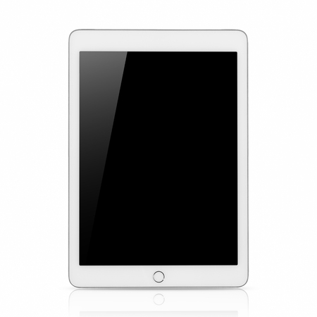 Digital tablet computer with Blank black screen, The frame is Bourne Silver in color, on white background.