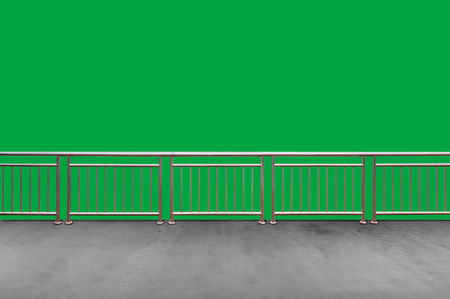 Empty modern balcony or terrace area isolated on green screen background