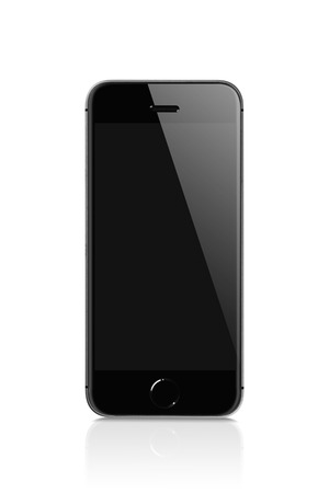 Black Mobile isolated with reflection on white background against black blank screen for mockup. Displaying for applications on the screen. Mobile technology connects the world closer together.