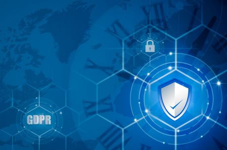 Protection shield and Icon lock over EU flag inside, EU map, symbolizing the EU General Data Protection Regulation or GDPR. Designed to harmonize data privacy laws across Europe. Stock Photo