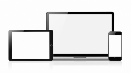 Laptop smartphone and tablet mockup with blank screen isolated on white background, Concept mockup. Copyspace for text. Archivio Fotografico