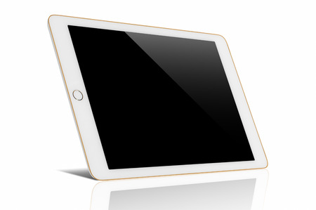 Digital tablet computer with Blank black screen, The frame is gold in color, with clipping path isolated on white background.