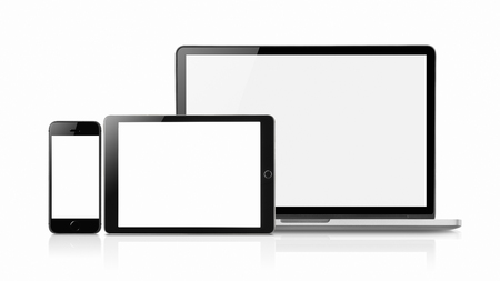 Laptop, Smartphone and tablet mockup with blank screen isolated on white background, Concept mockup. Copyspace for text. 版權商用圖片