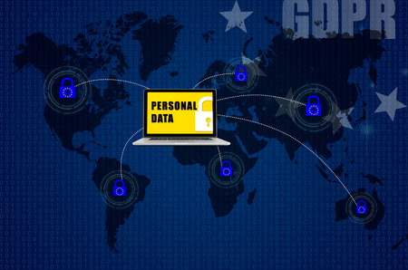 Padlock over world map and symbolizing the EU General Data Protection Regulation or GDPR. Designed to harmonize data privacy laws across Europe. Stock Photo