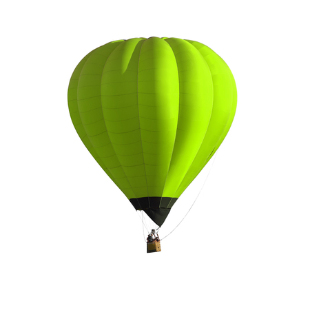 Green Hot air balloon isolated on white background with clipping path. Stock fotó