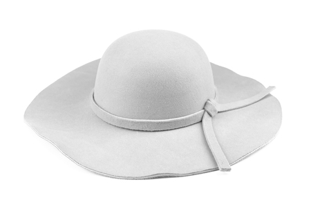 Elegant woman white hat or Large white summer straw hat isolated on white background with clipping path.