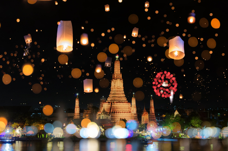 Bangkok happy new year countdown fireworks and lantern at Wat Arun Temple, Bangkok Thailand.