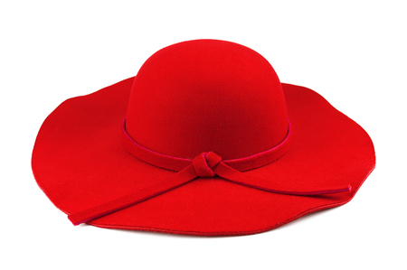 Elegant woman red hat or Large red summer straw hat isolated on white background with clipping path.