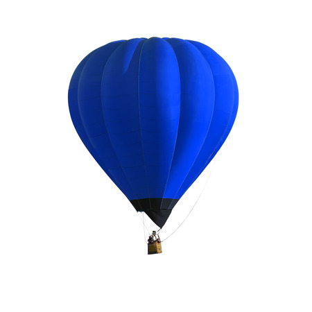 Blue Hot air balloon isolated on white background