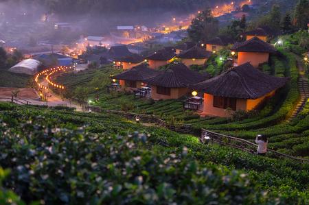 Time lapse video 4K, Landscape Sunrise at Lee wine Ruk Thai, Ban Rak Thai a Chinese settlement, Mae Hong Son, province Northern Thailand.