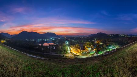Panorama Morning landscape at Kaeng Krachan Dam, Phetchaburi, Thailand Banco de Imagens