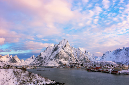 Beautiful view of scenic Lofoten Islands archipelago winter scenery, Beautiful mountain landscape in winter Norway, Scandinavia.